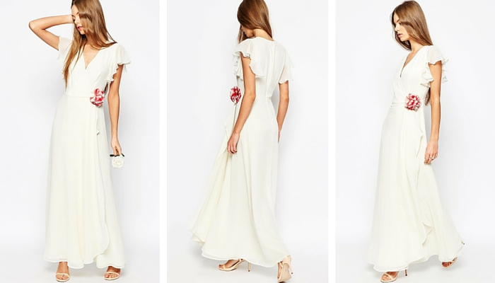 ASOS WEDDING Corsage Wrap Maxi Dress