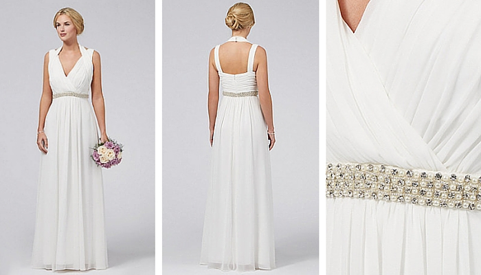Debut Ava Ivory embellished Grecian maxi dress